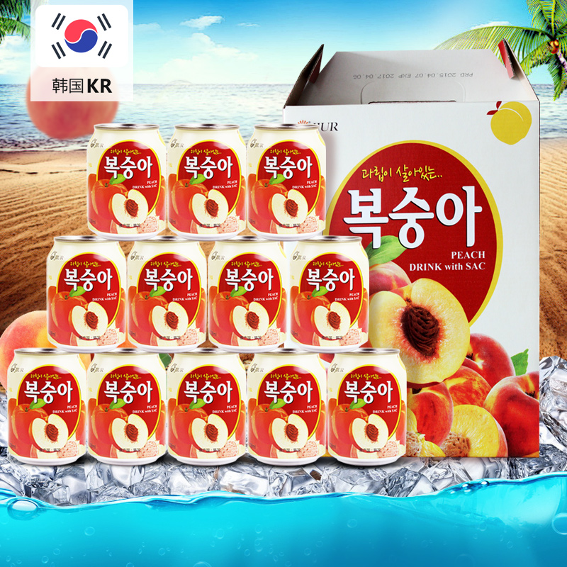 South korean imports of fruit drinks nine days brand canned peach juice beverage drinks wholesale fcl 238 ml * 12