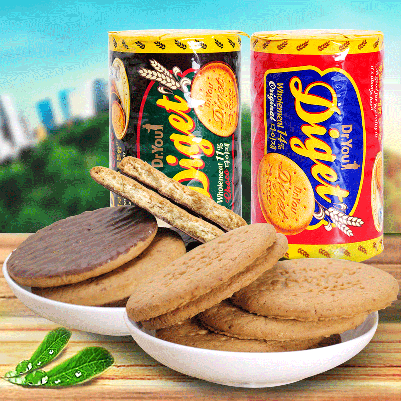 South korean imports of orion wholemeal/chocolate digestive biscuits 194/225g meal grains biscuits zero food