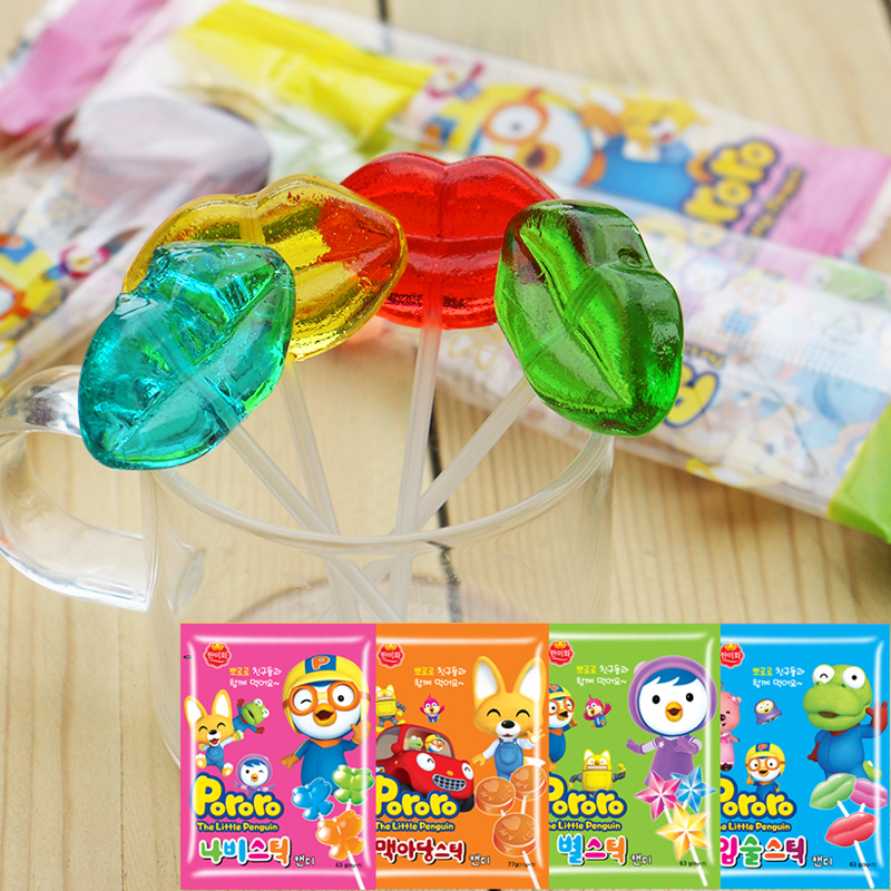 South korean imports of snack food rok-us wo boo lele pororo lollipop creative fun for children a variety of shapes