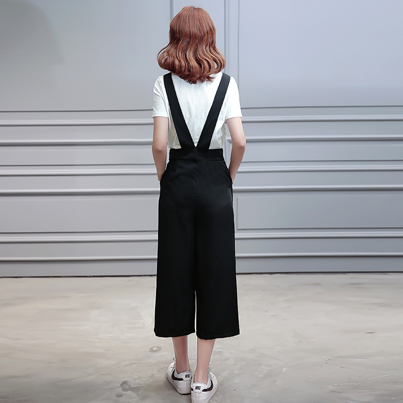 South korean women's korean version was thin piece black suspenders wide leg pants 2016 summer women's casual overalls nine points