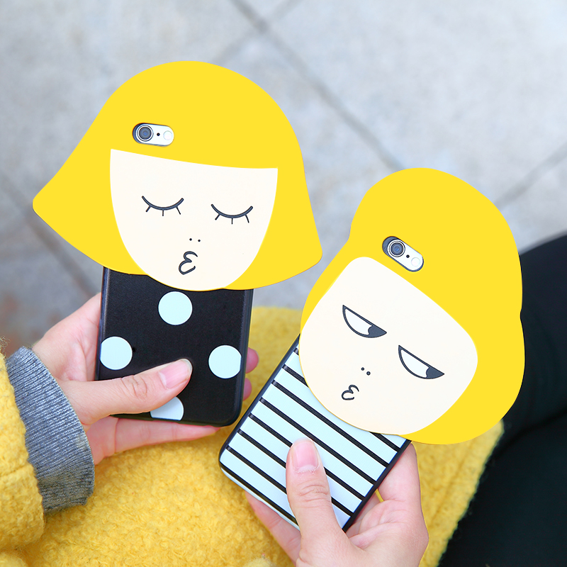 South korea's three-dimensional wave point stripe yellow hair girl couple kiss apple iphone6s plus hard shell phone