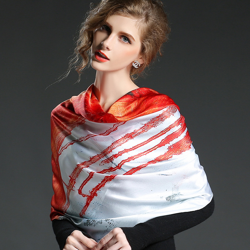 66934569a Get Quotations · South show silk language autumn and winter 100% large square  silk scarf 110 silk scarf