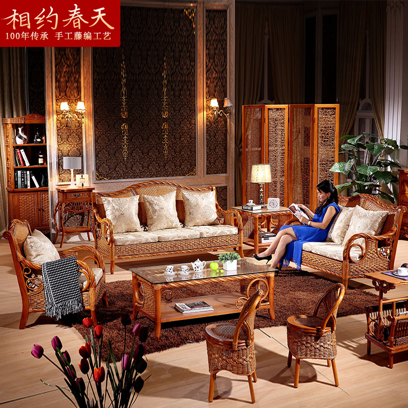 Southeast rattan sofa living room combination of five pieces of wood bamboo rattan sofa rattan furniture rattan sofa rattan sofa