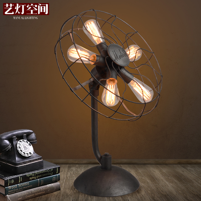 [Space] arts lamp retro industrial wind fan lamp edison personalized study engineering lamps decorative table lamp