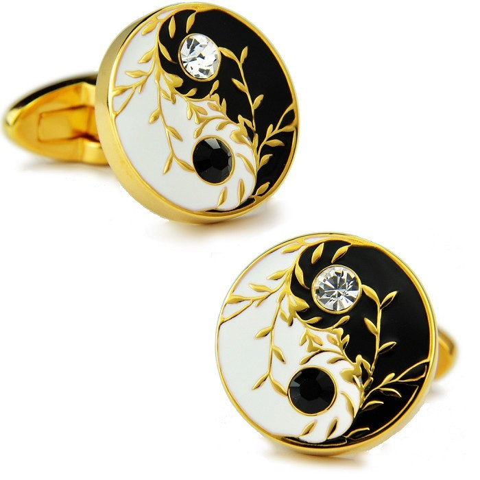 Sparta chinese tai chi style k gold plated austrian diamond cufflinks french shirt cufflinks cufflinks cuff