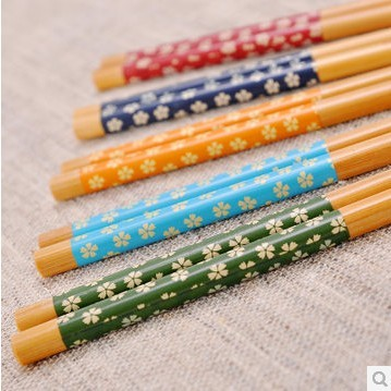 Special color cherry/green chopsticks/slip natural bamboo chopsticks and wind japanese chopsticks chopsticks family hotel