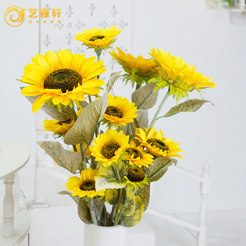Special simulation barley large sunflower sunflowers tian long living room floor flower garden decorative bouquet suit