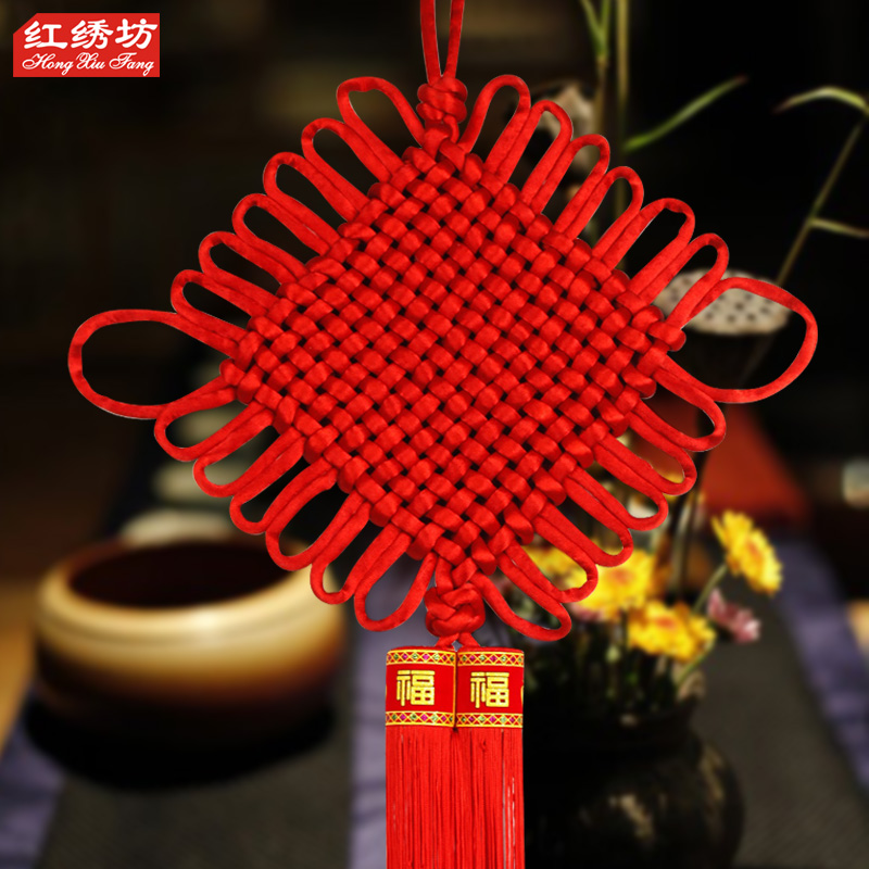 Special thick line knitting yarn full of red tassels word blessing new medium chinese knot pendant feng shui living room decorations