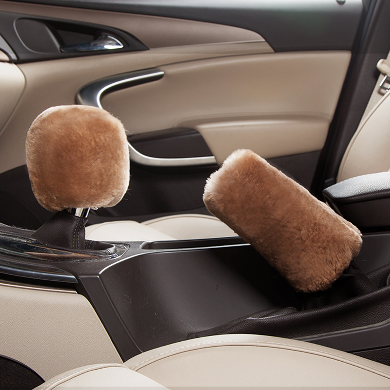 Spiritual point plush warm winter wool fur one automatic manual transmission to cover handbrake sleeve gears sets