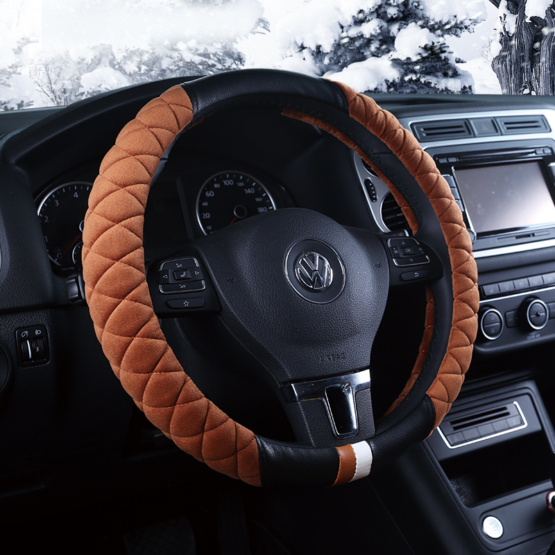 Sports car steering wheel cover car grips four seasons general winter short plush steering wheel cover slip to cover