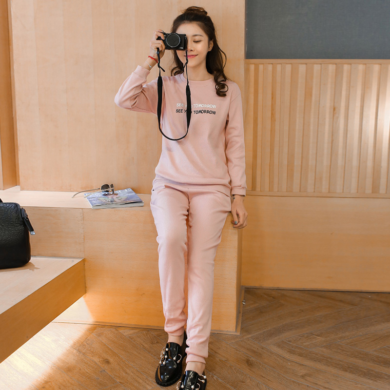 Sports suit two piece suit spring models women's pants casual sports suit spell color korean version of casual hooded sports