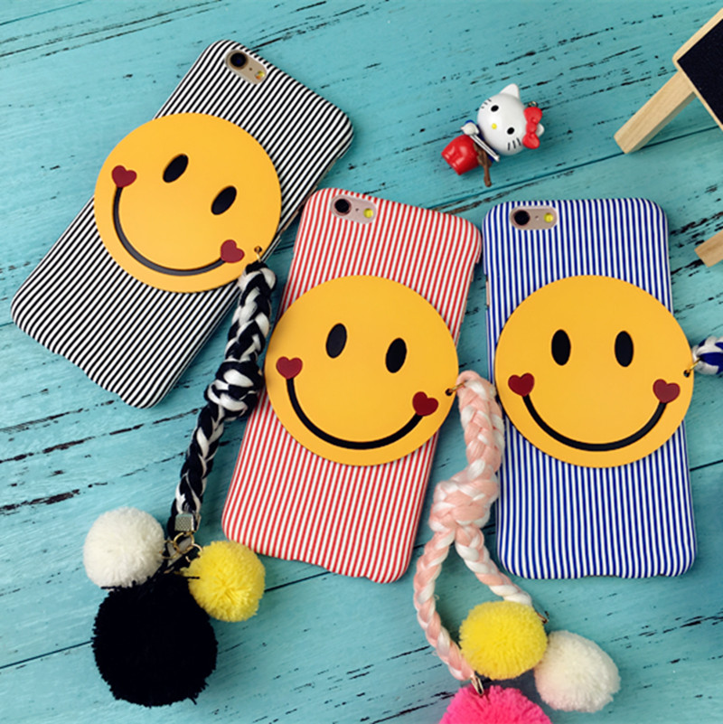 Spot dongguk door vertical stripes fringed smiley phone shell 6/plus phone shell mobile phone shell stripes tassel free shipping