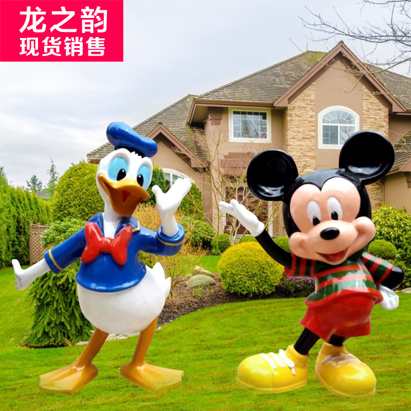 Spot sales kindergarten disney donald duck and mickey mouse cartoon resin ornaments sculpture sculpture