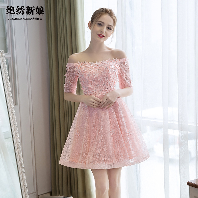 Spring 2016 new korean pink bridesmaid dress short paragraph sisters dress bridesmaid dress banquet evening dress slim spring
