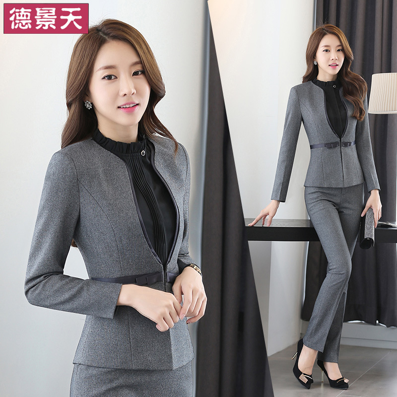Spring and autumn and winter wear women's suit collar ol slim suits chaps beautician overalls skirt the main tube