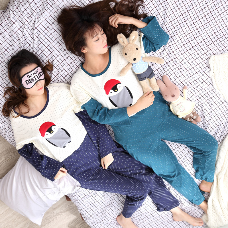 Spring and autumn cotton cute cartoon cotton trousers autumn ladies long sleeve pajamas woman pajama suit tracksuit