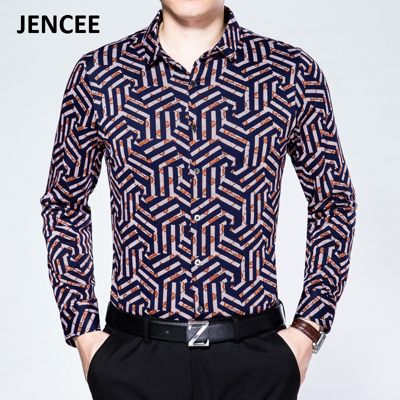 Spring and autumn jenceejencee when printing new men's long sleeve shirt sleeve shirt middle-aged men's still rimula号71 paragraph