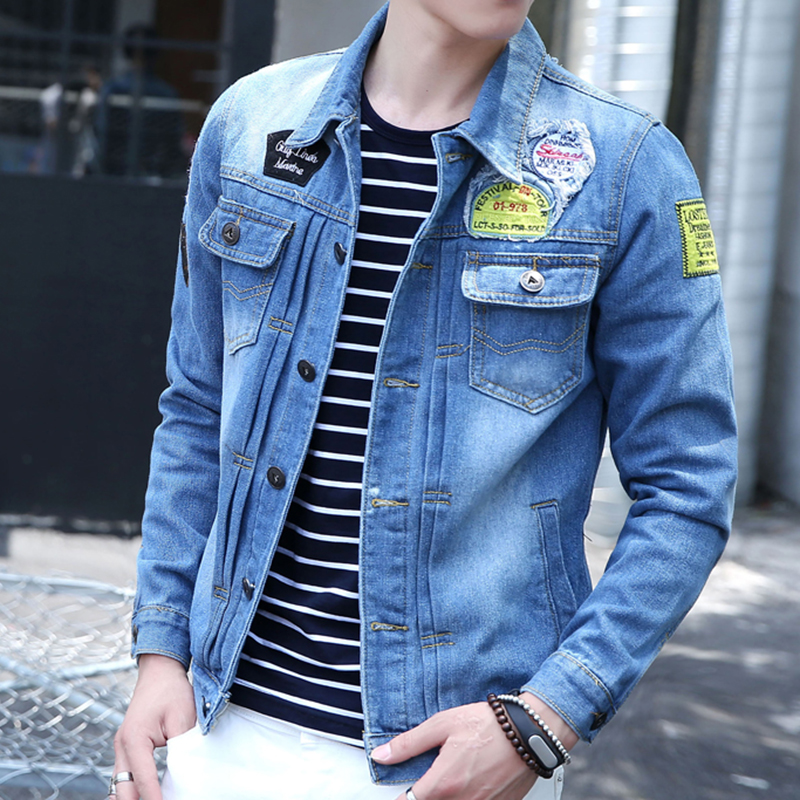 Spring and autumn men's jacket slim influx of men clothes korean version of cowboy clothes denim jacket coat thin section retro shirt