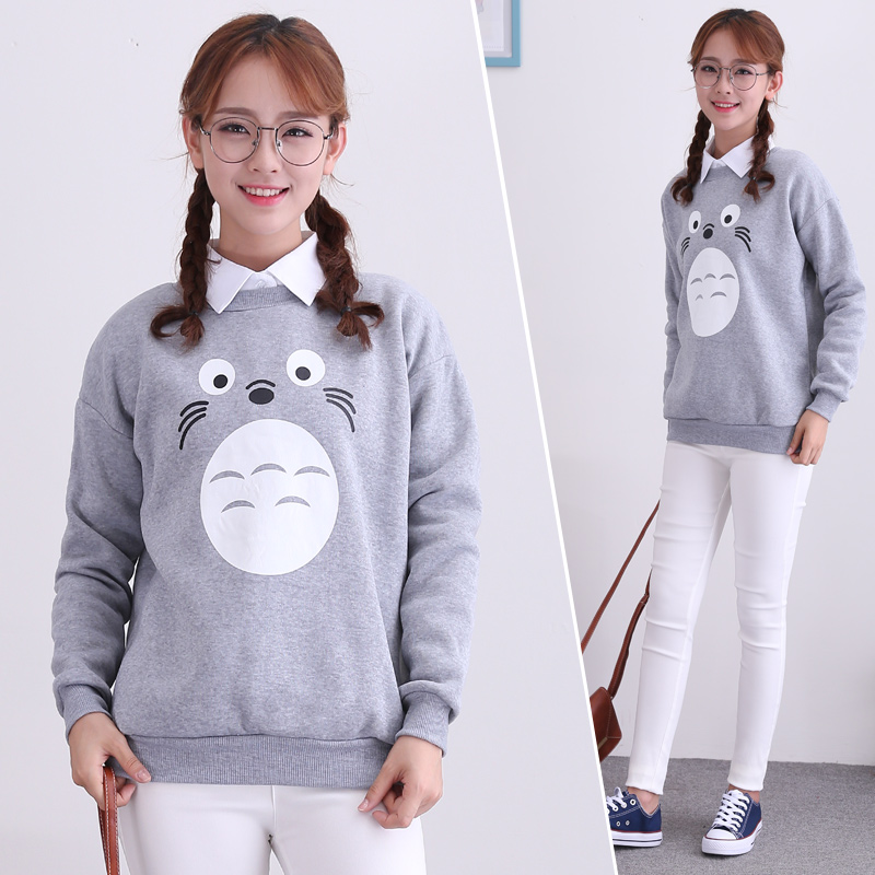 Spring and autumn new bottoming shirt female 2016 korean version of the cartoon printing hedging plus velvet round neck long sleeve sweater coat female