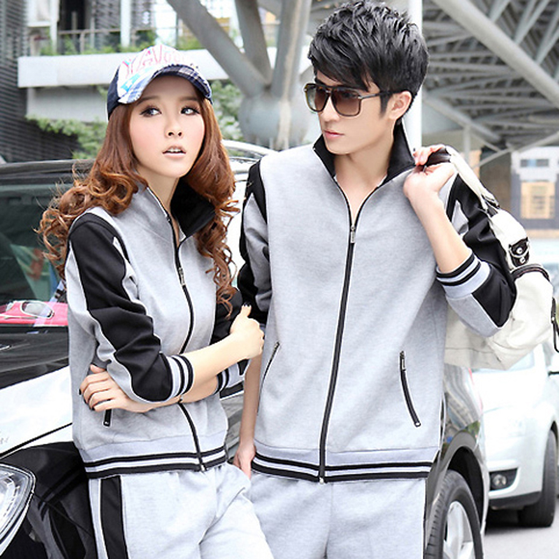 Spring and autumn new sports suit breathable long sleeve pants casual clothes for men and women fashion genuine couple models sportswear