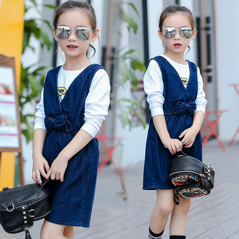 Spring and autumn paragraph girls denim strap dress children dress skirt big virgin female heart skirt 2016 new korean version of the back