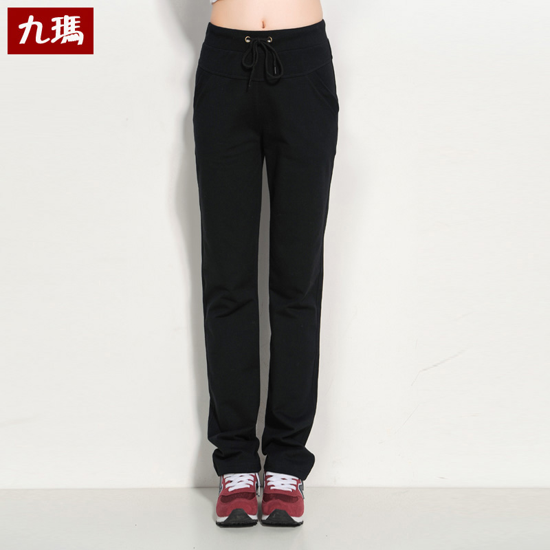 Spring and autumn sports pants female long pants straight thin section korean version was thin loose big yards cotton casual pants wei pants tide