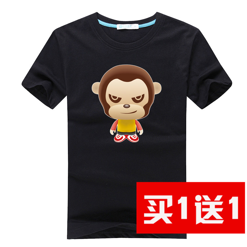 Spring and summer men's short sleeve mouth monkey cartoon cotton round neck t-shirt men adolescents big yards japanese sleeve tide