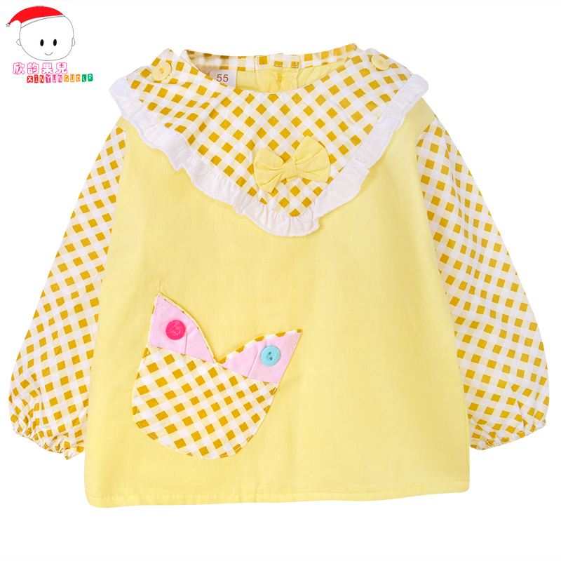 Spring and summer new anti dressing gowns eat clothing waterproof clothing for children baby long sleeve cotton baby bib with down shirt to wear