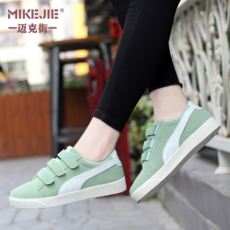 Spring and white shoes shoes shoes breathable suede leather sports shoes velcro shoes student shoes classic casual shoes