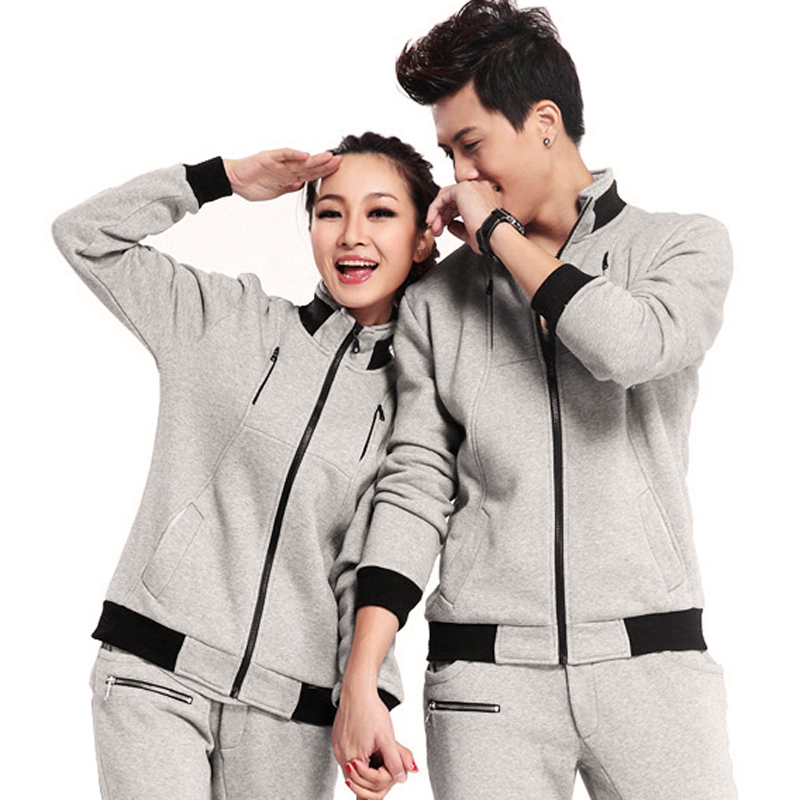 Spring and winter lovers cardigan casual sports suit the new adolescent male and female models slim korean sportswear