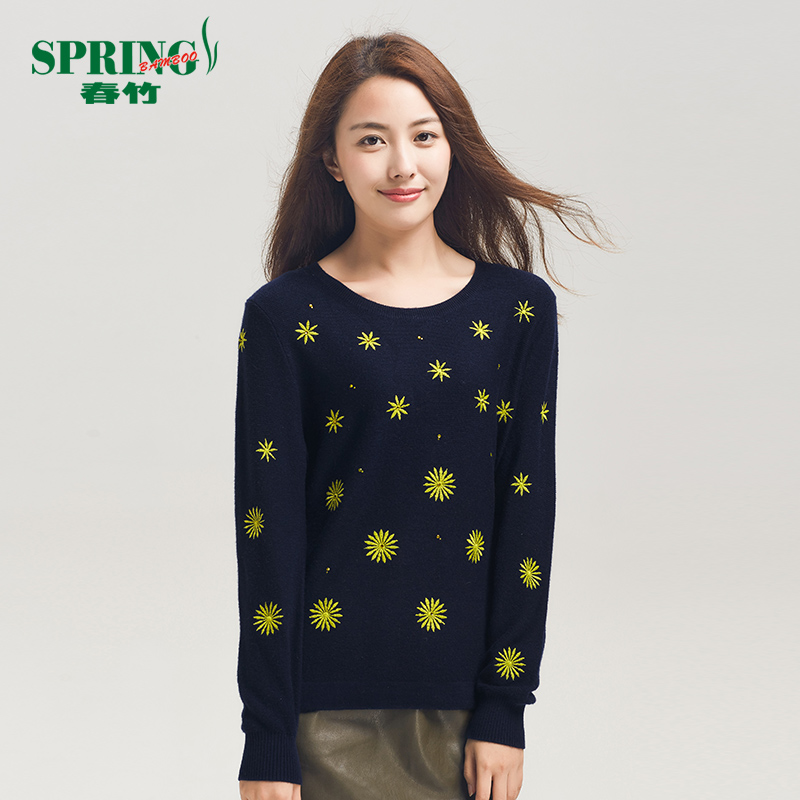 Spring bamboo/bamboo bamboo 2015 new loose round neck pure wool sweater fashion hit the color rendering shirt