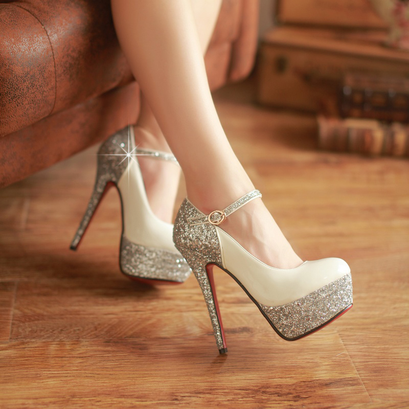 40685f8a5bf Get Quotations · Spring fashion models korean version of the sexy super  high heels waterproof shoes wedding shoes women