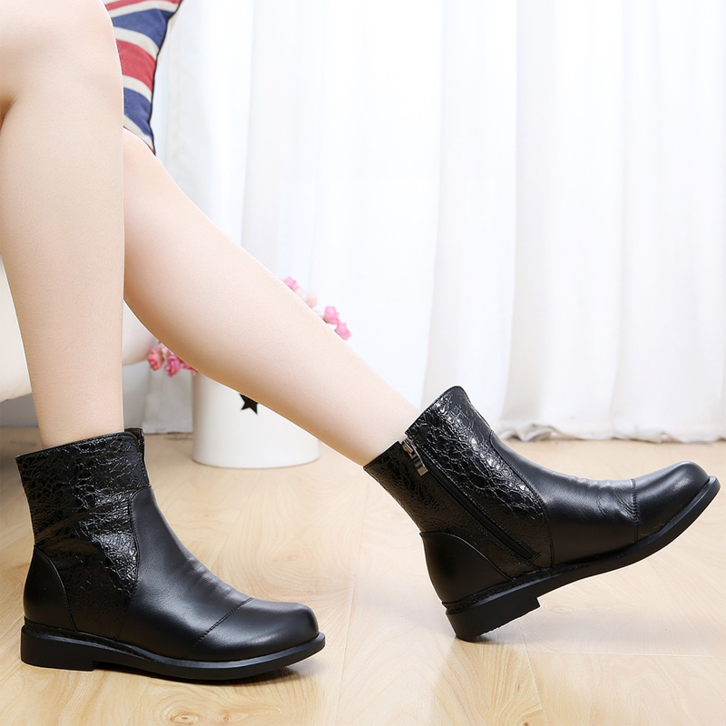 Spring leather boots with flat boots women women shoes spring shoes flat shoes spring models large size women's boots 4043