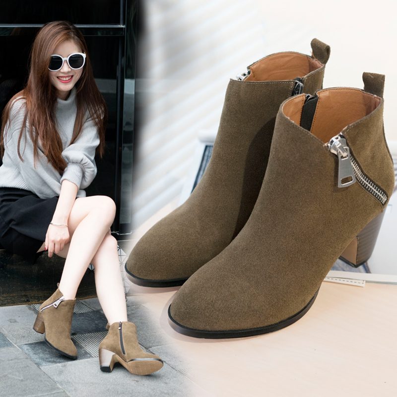 8fb4a9d044e Get Quotations · Spring matte leather boots thick with bare boots retro  round dark green leather high heels martin