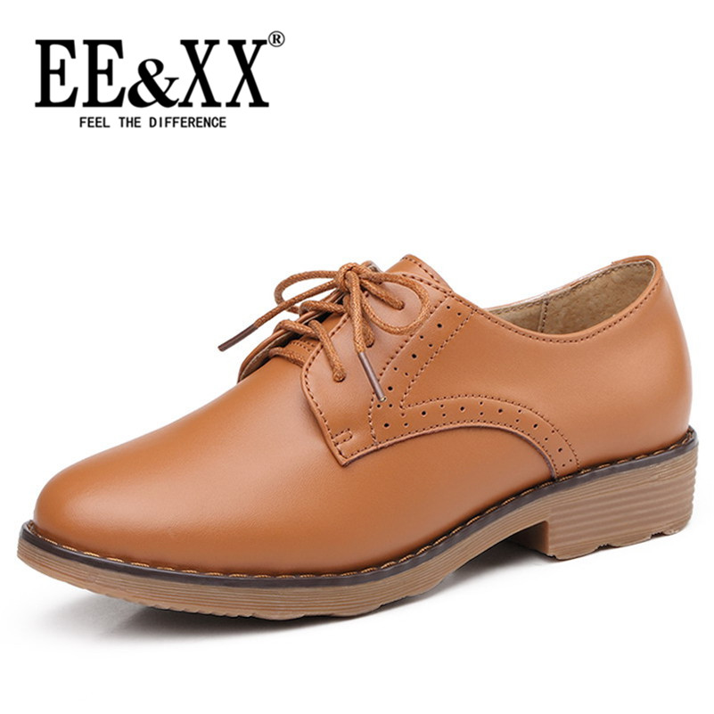 Spring new deep mouth round flat with stylish and comfortable EEXX2016 lace solid color casual shoes to help low shoes 2149