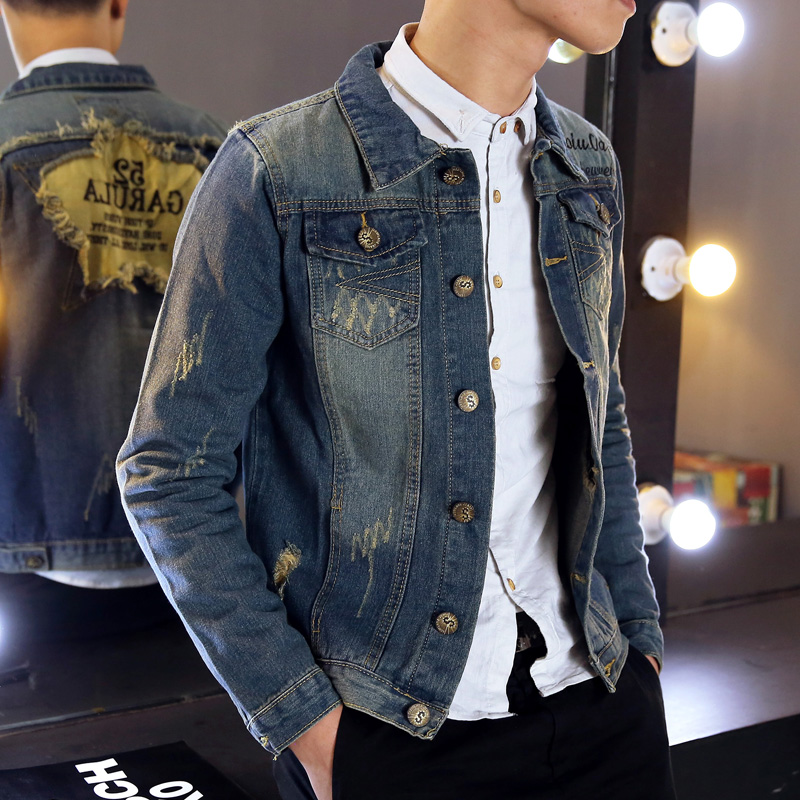 Spring new korean slim influx of youth men's denim jacket coat cowboy clothes shirt tide retro hole