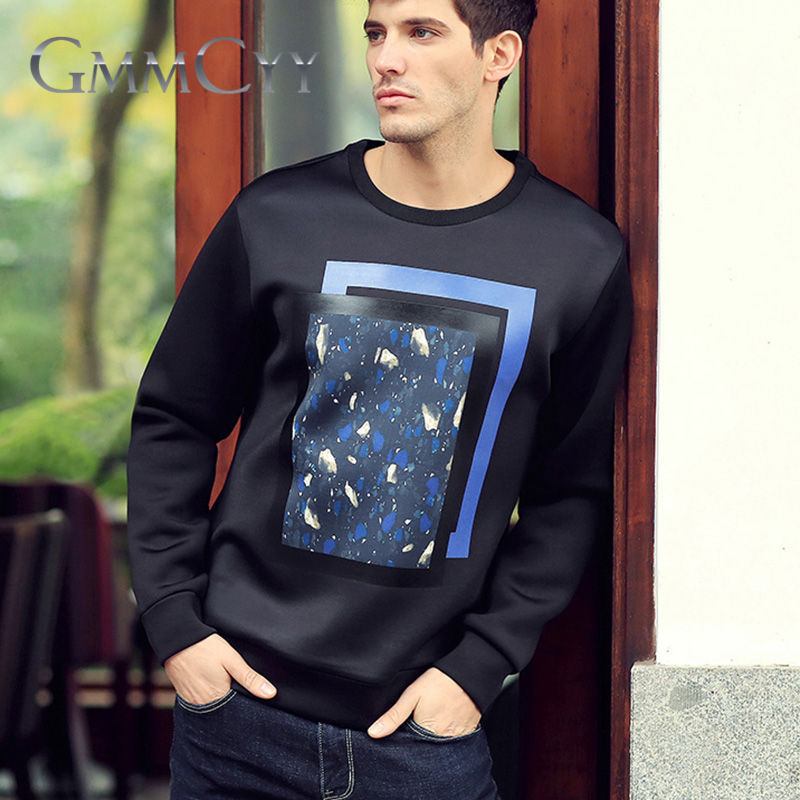 Spring new men's printed t-shirt fashion gmmcyy air layer long sleeve t-shirt round neck coat 3203