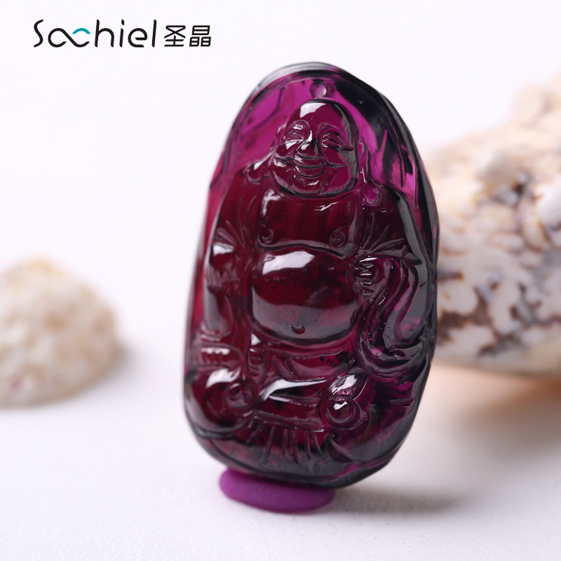 St. crystal natural garnet pendant female models lucky lucky crystal gemstone pendant laughing buddha maitreya