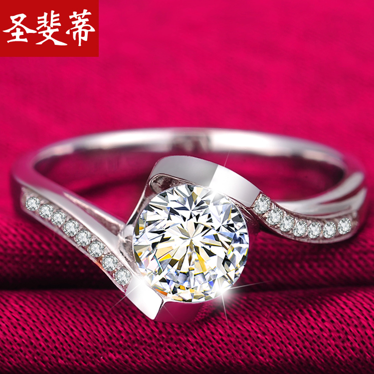 St. fei stem end 30 points simulation diamond ring platinum ring diamond ring finger korean fashion jewelry ms. ring