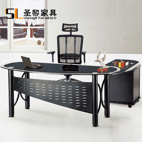 St. li herculite office furniture desk desk manager in charge of black glass special custom 6613