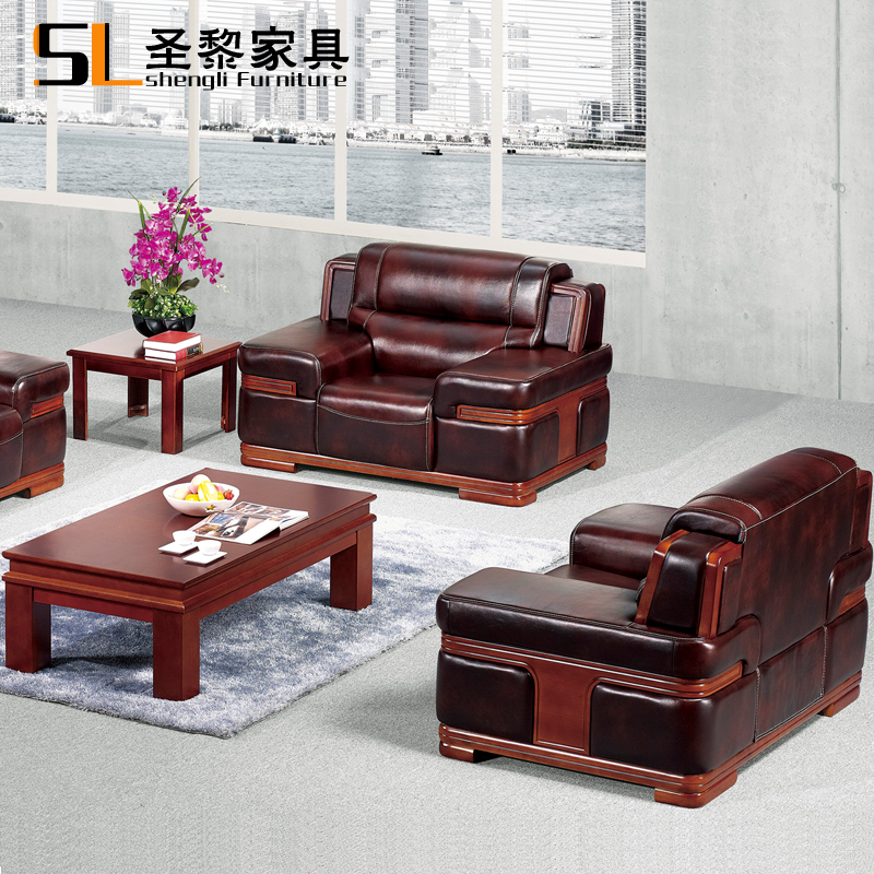 St. li office furniture in guangdong thick cowhide leather sofa combination of the first layer of ceos office sofa matching 3685