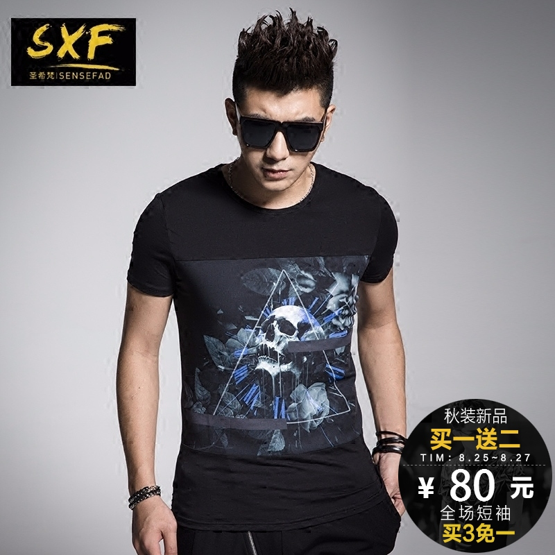 St. vatican greek sxf japanese harajuku style personality skull slim influx of men short sleeve t-shirt half sleeve tide tide brand t
