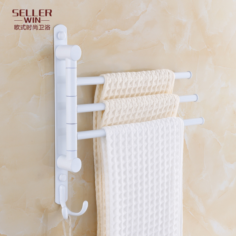 Stainless steel bathroom towel rack rotation activities towel hanging towel bar single pole double pole bathroom grilled white paint