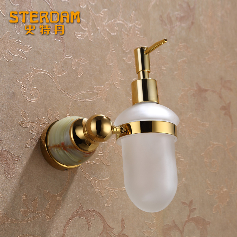 Stallone all copper rose gold dan natural jade stone washing liquid bottle soap dispenser hotel bathroom five gold pendant set