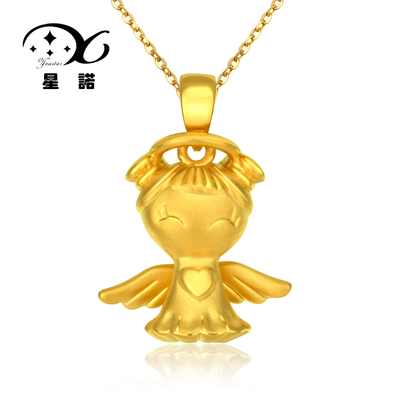 Star connaught足é3d hard gold jewelry gold pendant 999 gold fuwa fuxing and peace pendants angel baby 5021