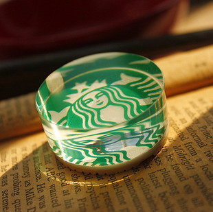 Starbucks simple aesthetic round crystal stamp seal rubber stamp/stamp/diy diary seal