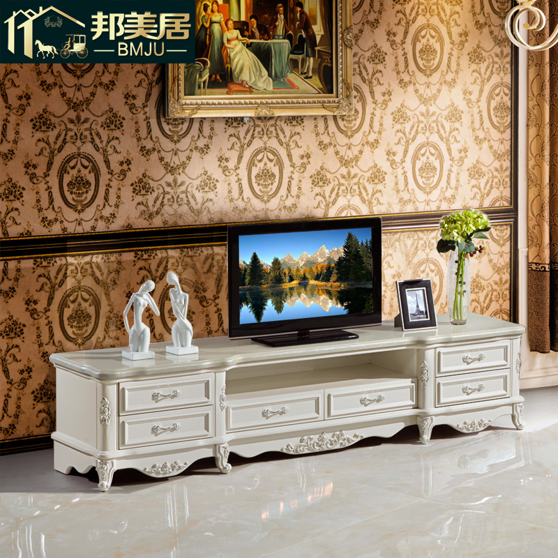 State mercure european solid wood tv cabinet silver white depiction tv cabinet coffee table combination of small units