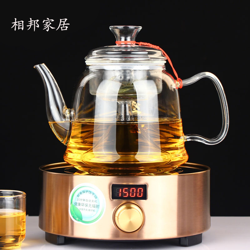 State phase steaming teapot heat resistant glass teapot stainless steel filter tea kettle electric ceramic heaters gong fu tea Kit
