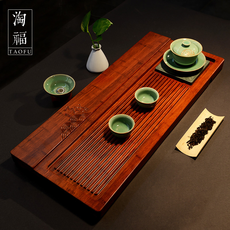 Stayed single heavy bamboo tea tray kung fu tea tray large drainage bamboo tea sea bamboo tea tray bamboo tea sets tea tray
