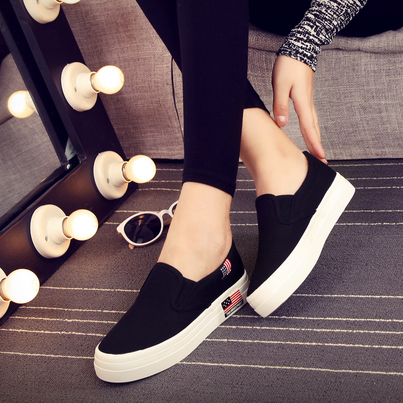 Step away 2016 lazy to help low canvas shoes korean version of casual black shoes female student flat shoes tide college wind
